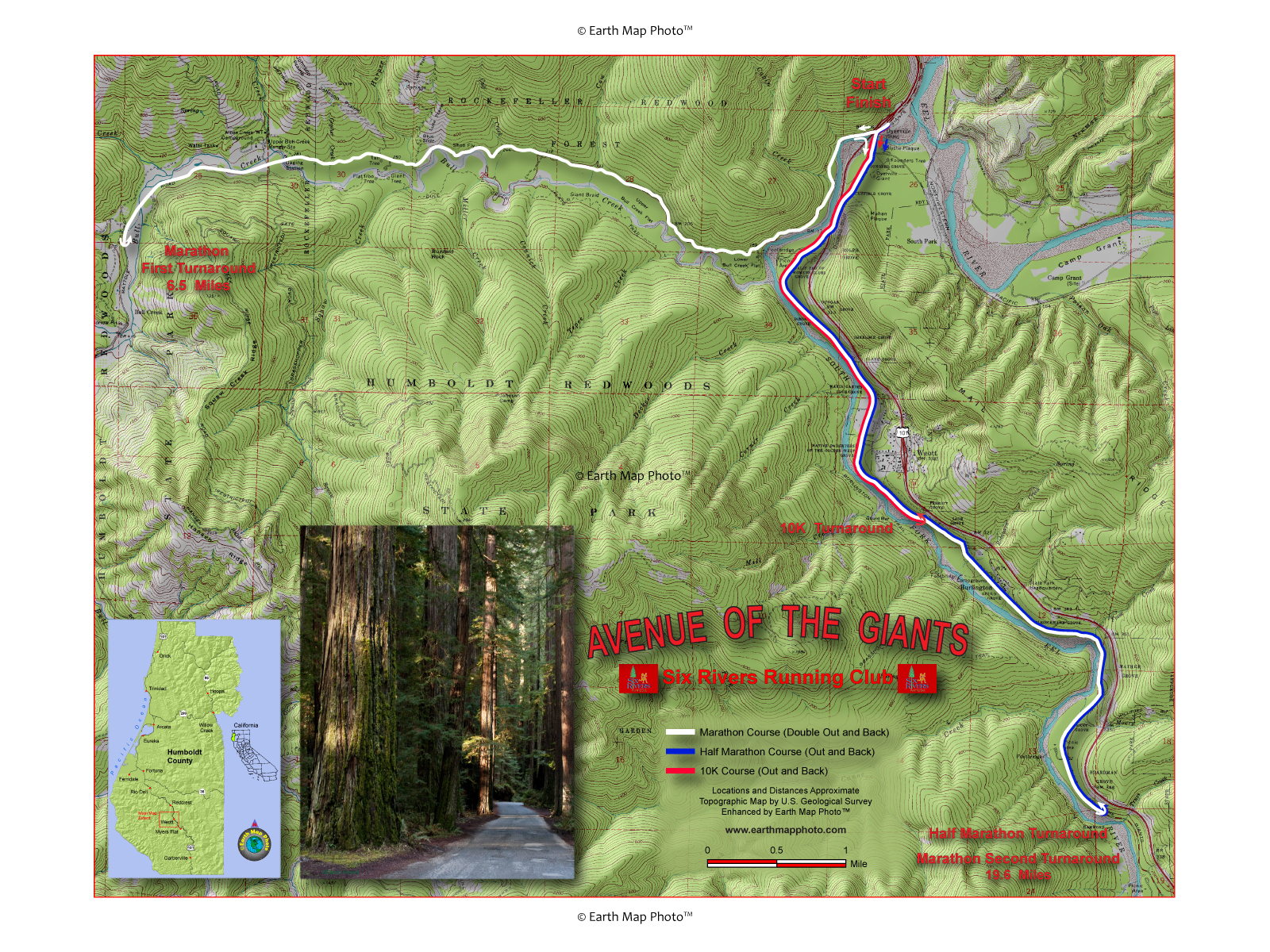 10K Avenue Of The Giants Map on